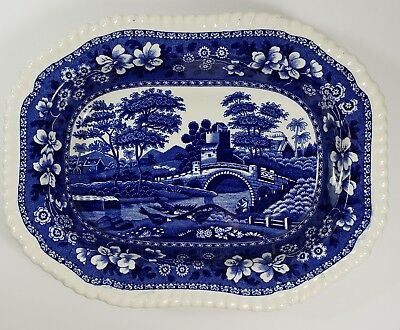 "Copeland Spode's Tower Blue Old Mark 9"" Oblong Rimmed Vegetable Serving Bowl - B"