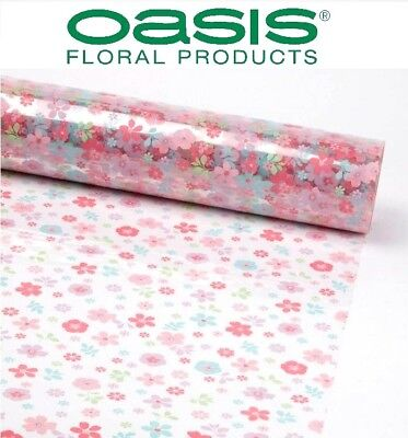 80cm Wide Cellophane Pink Floral Film Roll Gift Wrap Scattered Flowers Celophane