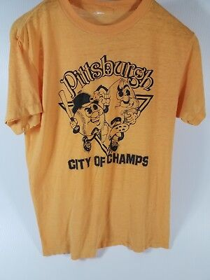 Vtg early 80's Pittsburgh City of Champs 50/50 single stitch T shirt Gold Sm D17