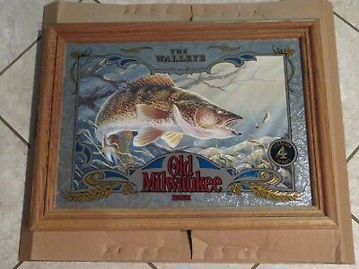 Old Milwaukee Beer Wildlife Mirror Sign WALLEYE Fishing with Lure Fish NEW