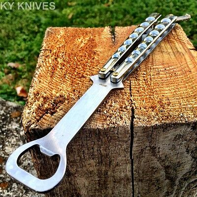High Quality Practice BALISONG METAL BUTTERFLY BOTTLE OPENER Trainer Knife Ch