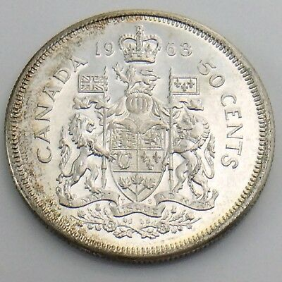 1963 Fifty 50 Cent Canada Half Dollar Uncirculated Canadian Coin H863