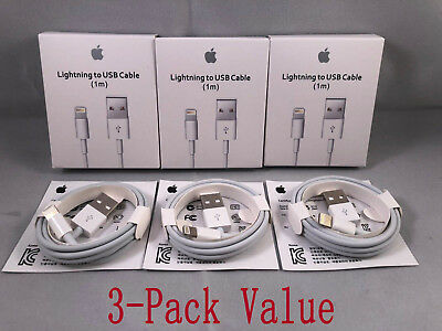 3 Pack Genuine Original OEM for Apple iPhone X 8 7 6 Lightning USB cable charger
