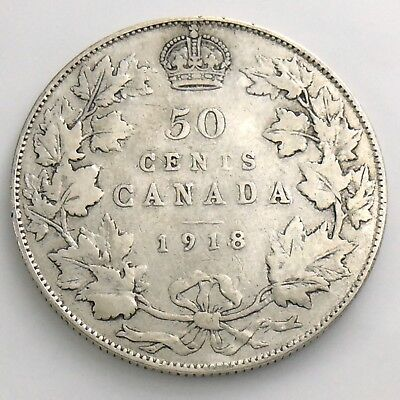 1918 Fifty 50 Cent Canada Half Dollar George V Circulated Canadian Coin H872