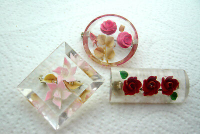 Vintage Jewellery Mixed Job Lot Of Reverse Carved Lucite Flower Brooches Pins