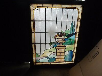 Antique American Stained Glass Scenic Window Arts  And Crafts   1930's