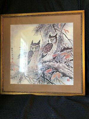 Vintage Original Chinese Asian Watercolor Owl Painting