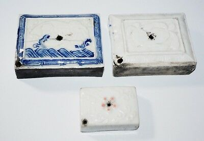 3x 19C Chinese Japanese Korean Pottery Water-droppers for Scholars Desk (***)