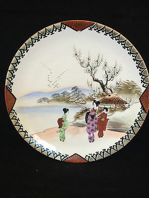 antique artist signed JAPANESE PORCELAIN PLATE HAND PAINTED GEISHA motif