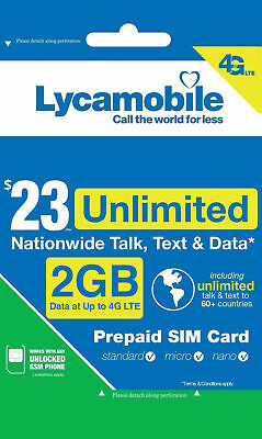 LYCAMOBILE $23 Preloaded Sim Card Plan Prepaid 1Month Free Talk Text Data 4G LTE