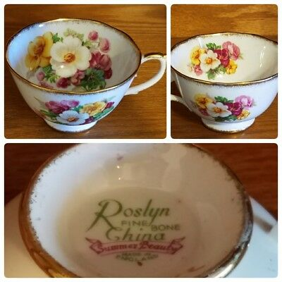 Roslyn Fine Bone China Summer Beauty Floral Tea Cup Made in England