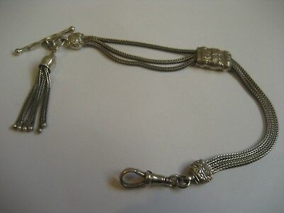 Superb Antique  Solid Silver Sliding  Albertina With Tassle