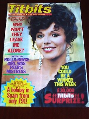 TITBITS, 20th FEB 1982.JOAN COLLINS FRONT COVER.