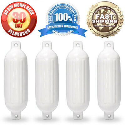 """Case of (4) 6.5"""" x 23"""" Boat Fenders Bumper Boat Docking Protection White"""