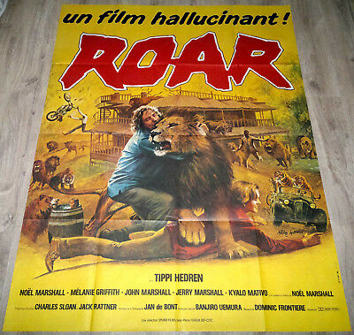 1984 ROAR Tippi Hedren Lions Tigers Melanie Griffith French 47x63 movie poster