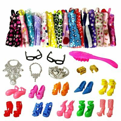 Barbie Doll Clothes Accessories Huge Lot Party Gown Outfits Girl Gift Barbie DIY