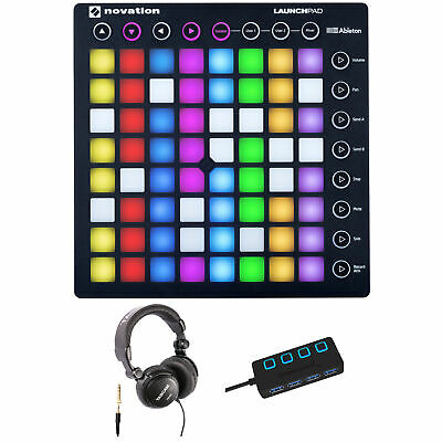 Novation Launchpad Ableton Live Grid Controller with Tascam TH-03 Headphones