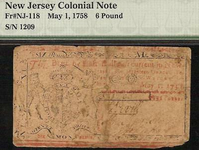 May 1, 1758 New Jersey Colonial Currency 6 Pound Note Paper Money Nj-118 Pmg