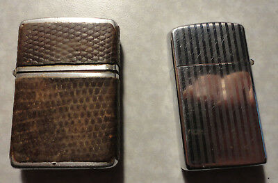 lot of 2 Vintage Antique Art Deco Mid Century ZIPPO lighters
