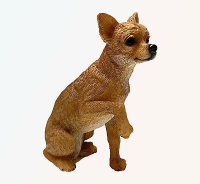 CHIHUAHUA TAN DOG Figurine Statue Hand Painted Resin Living Stone