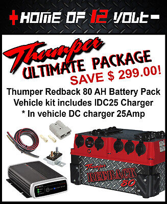 Thumper Redback 80 AH AGM Portable battery system with IDC25 Battery Charger kit