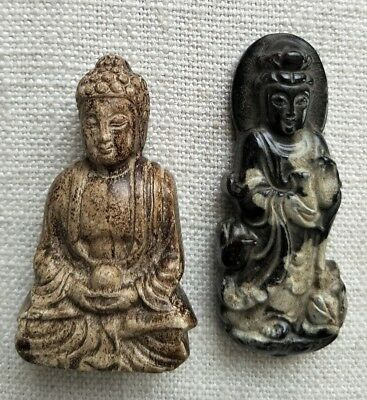 Chinese Stone GuanYin Statue & Pendent