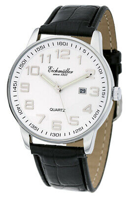 Men's Watch Quartz Clock with Date Leather Band, Black Dial Face, White 36273