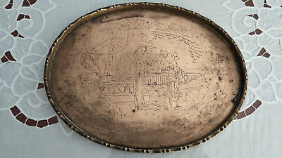 Genuine Chinese Antique Engraved Brass Tray