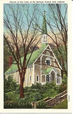 Vintage Postcard French Lick Indiana Our Lady of the Springs Catholic Church