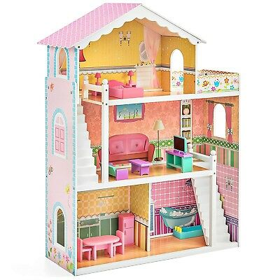 BCP 3-Story Kids Wooden Dollhouse Set w/ 17 Furniture