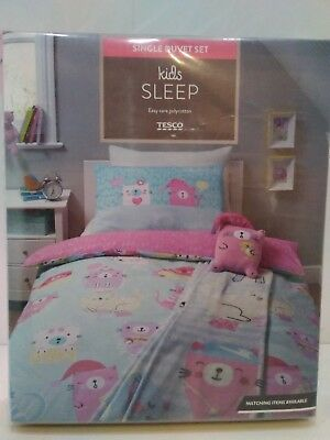 Tesco CATS Single Duvet Cover Set & Pillow Case - NEW - Reversible Girls Bedding