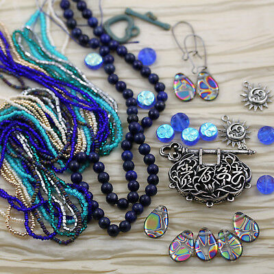 Exclusive! * Milky Way Secrets * CZECH seed beads, abstract peacock drops, key