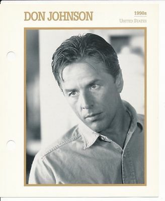 "DON JOHNSON MOVIE STAR ENCYCLOPEDIA 5 3/4"" X 7"" CARD-1990s"