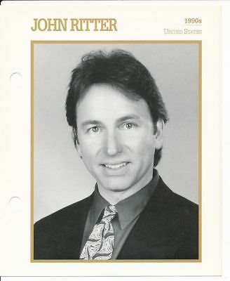 "JOHN RITTER MOVIE STAR ENCYCLOPEDIA 5 3/4"" X 7"" CARD-1990s"