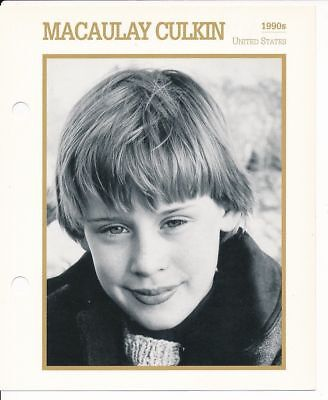 "MACAULAY CULKIN MOVIE STAR ENCYCLOPEDIA 5 3/4"" X 7"" CARD-1990s"