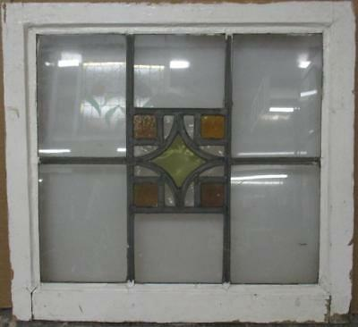 "MID SIZED OLD ENGLISH LEADED STAINED GLASS WINDOW Simple Geometric 24"" x 22.25"""