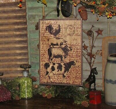 Prim Antique Vtg Style Wood Dairy Cow Sheep Rooster Pig Sign Mother Day Gift
