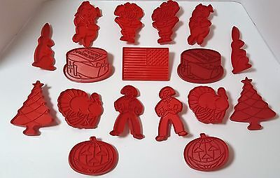 Vintage 1970's Set of 2 Tupperware Red Hard Plastic Cookie Cutters Plus Flag