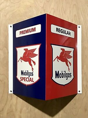 Mobiloil Mobilgas Angle Flange Style Metal  Gasoline Gas sign Pump Oil WOW!!!