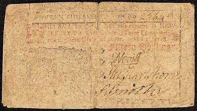 MAY 1, 1758 NEW JERSEY COLONIAL CURRENCY 15s NOTE PAPER MONEY NJ-115 RARE
