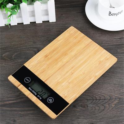 5kg/1g Bamboo Wooden Digital LED Electronic Kitchen Cooking Food Weighing Scales