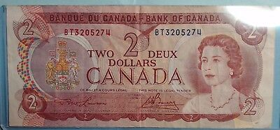 1974 Bank of Canada Canadian $2 Two Dollar Bill Note BT3205274  Circulated