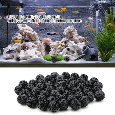 50Pcs Aquarium Filter Bio-Sponge Media Black Foam Fish Tank Bio Biochemical Ball