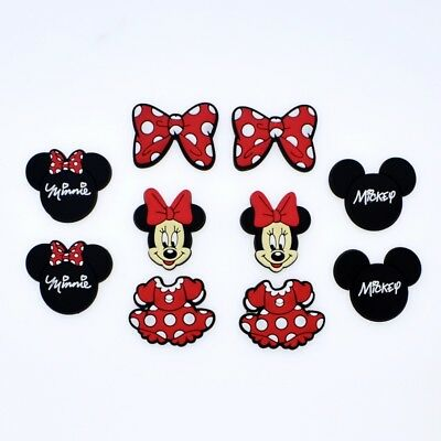 10pcs Girls Gift New Minnie Skirt Bowknot Shoe Charms For Hole Shoes Bracelet