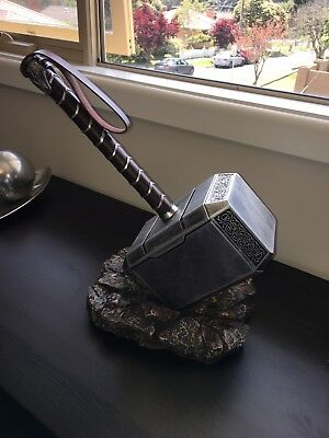 Thor Hammer And Base Set Mjolnir Marvel Avengers Collectible Display Gift