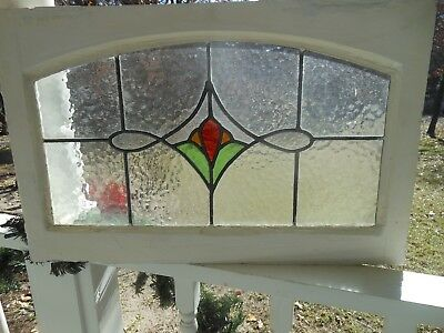 LA-205 Transom Style Arched Top Leaded Stained Glass Window F/England