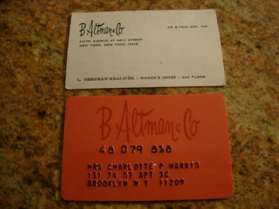 "Rare Vintage ""B ALTMAN & CO"" Business & CREDIT CARD - NEW YORK - CLOTHING & MORE"