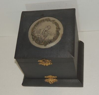 Victorian Collar Box w Porcelain Nymph on Lid  w 2 compartments