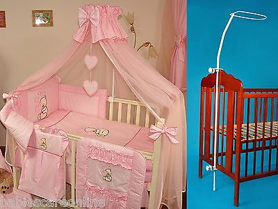 LUXURY BABY COT/COTBED CANOPY DRAPE - 320 x160cm in PINK+CANOPY HOLDER / ROD