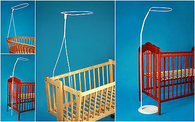 Nursery Canopy Drape  Mosquito Net  Rod Bar Clamp Pole Crib Mosses Basket